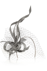 Philip Treacy Buntal Scroll And Swarovski Crystal Embellished Veiled Headpiece