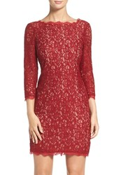 Adrianna Papell Women's Lace Overlay Sheath Dress Crimson Nude
