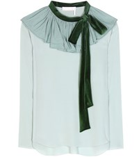 Chloe Velvet Trimmed Silk Crepe Top Green