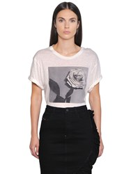 Diesel Rose Printed Linen Blend T Shirt