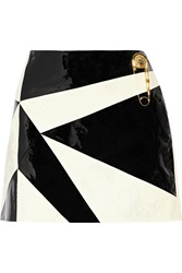 Versus Paneled Patent Leather Mini Skirt Black
