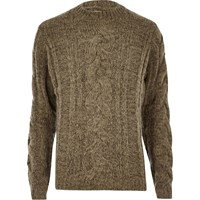 River Island Mens Ecru Chunky Cable Knit Jumper Beige