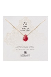 Dogeared Be Your Own Kind Of Beautiful 14K Gold Plated Sterling Silver Red Jade Necklace