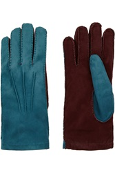 Marni Two Tone Suede Gloves Purple