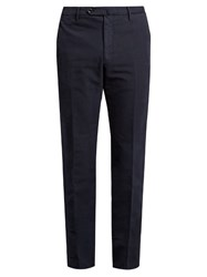 Incotex Regular Fit Stretch Cotton Trousers Navy