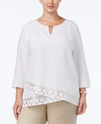 Jm Collection Plus Size Embellished Tulip Hem Linen Top Only At Macy's Bright White