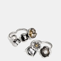 Coach Studded Tea Rose Duster Ring Set Silver Gold