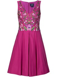 Marchesa Notte Floral Embroidered Dress Pink And Purple