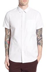 Men's Tavik 'Sloan' Trim Fit Short Sleeve Dobby Woven Shirt White