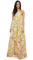 Msgm Floral Maxi Dress Yellow Pink