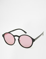 Asos Round Inset Metal Sunglasses With Flat Lens And Pink Flash Black