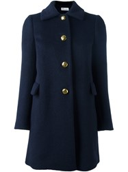 Red Valentino Gold Tone Hardware Coat Blue