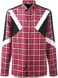 Neil Barrett Checked Patch Detail Shirt Red