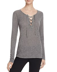 Velvet By Graham And Spencer Lace Up Tee Charcoal