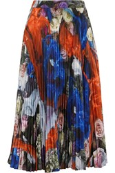 Christopher Kane Printed Plisse Crepe Skirt Royal Blue