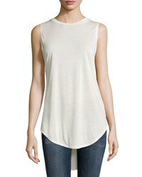 Haute Hippie Crewneck High Low Tank Swan