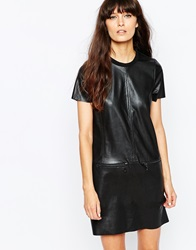 Vero Moda Leather Look Shift Dress With Zip Detailing Black