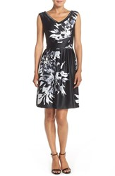Women's Ellen Tracy Embellished Satin Fit And Flare Dress