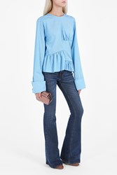 Marques Almeida Ruffled Gingham Top Blue