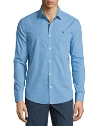 Penguin Gingham Long Sleeve Sport Shirt Directoire Blue
