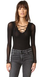 Only Hearts Club Tulle Lace Up Bodysuit Black