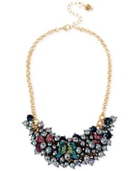 Betsey Johnson Two Tone Pave Butterfly And Imitation Pearl Cluster Statement Necklace Gold