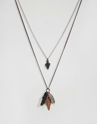 Icon Brand Feather Necklace Pack Black