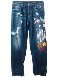 Dsquared2 'Super Big' Embroidered Jeans Blue