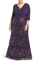 Adrianna Papell Plus Size Women's Jersey And Sequin Lace Gown