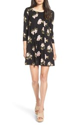 Lush Women's 'Leah' Floral Print Shift Dress Black Peach Floral
