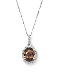 Bloomingdale's Oval Smoky Topaz With Diamond Halo Pendant Necklace In 14K White Gold 18 White Brown