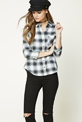Forever 21 Buffalo Plaid Flannel Shirt Grey Black