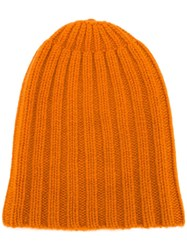 Danielapi Ribbed Beanie Yellow Orange
