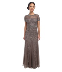 Adrianna Papell Cap Sleeve Fully Beaded Gown Lead Women's Dress Gray