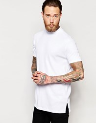 Asos Extreme Muscle Longline T Shirt With Turtleneck In Rib In White White