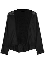 High Comprise Faux Leather Panelled Felt Jumper Black