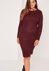 Missguided Plus Size Long Sleeve Ribbed Midi Dress Burgundy Burgundy