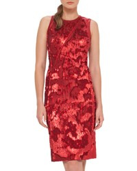 Akris Sleeveless Sequined Cocktail Dress Red