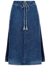 Ag Jeans Blue Denim A Line Skirt