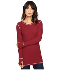 Allen Allen L S Thumbhole Tee Thermal Crew Rumba Women's Long Sleeve Pullover Red