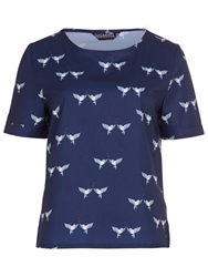 Sugarhill Boutique Lovebird Print T Shirt Top Navy