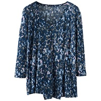 Poetry Abstract Floral Top Dark Blue