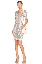 Raquel Allegra Fitted Dress In Gray Ombre And Tie Dye