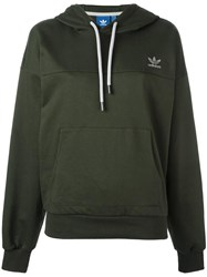 Adidas Logo Embroidered Hoodie Green