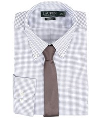Lauren Ralph Lauren Classic Button Down With Pocket Dress Shirt White Navy Men's Long Sleeve Button Up