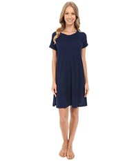 Allen Allen Short Sleeve Sweatshirt Dress Lapis Women's Dress Navy