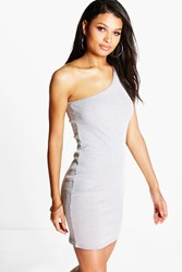 Boohoo One Shoulder Bodycon Dress Grey