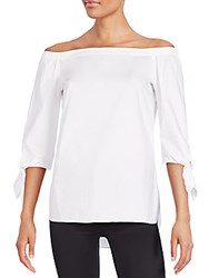Saks Fifth Avenue Black Off The Shoulder Blouse White
