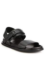 Maison Martin Margiela Double Strap Leather Sandals Black