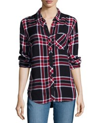 Beach Lunch Lounge Leigh Button Front Plaid Blouse Admiral